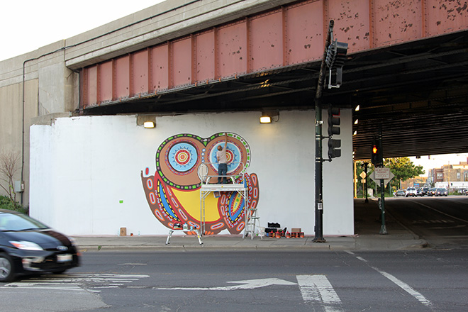 Tony Passero Whoot Owl Mural on Belmont and Kedzie in Chicago, IL Day 5 Jerry Painting