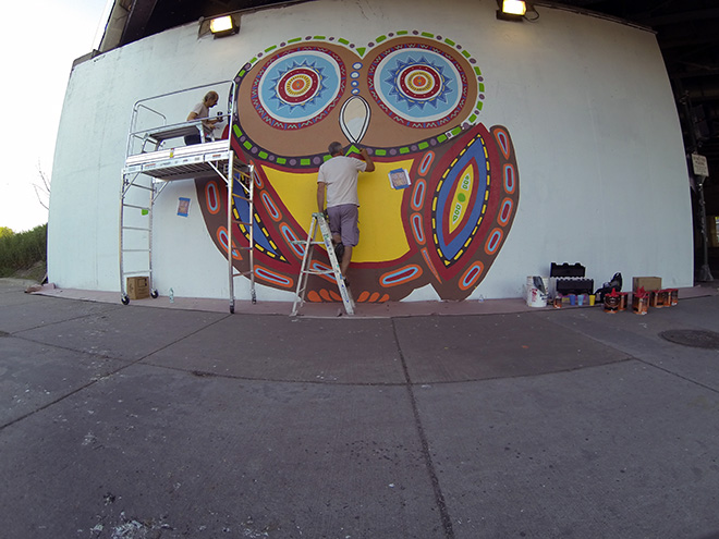 Tony Passero Whoot Owl Mural on Belmont and Kedzie in Chicago, IL Day 5 Tony and Jerry Detailing