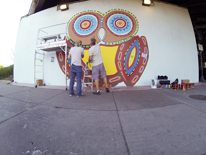 Tony Passero Whoot Owl Mural on Belmont and Kedzie in Chicago, IL Day 5 Tony and Jerry Talking