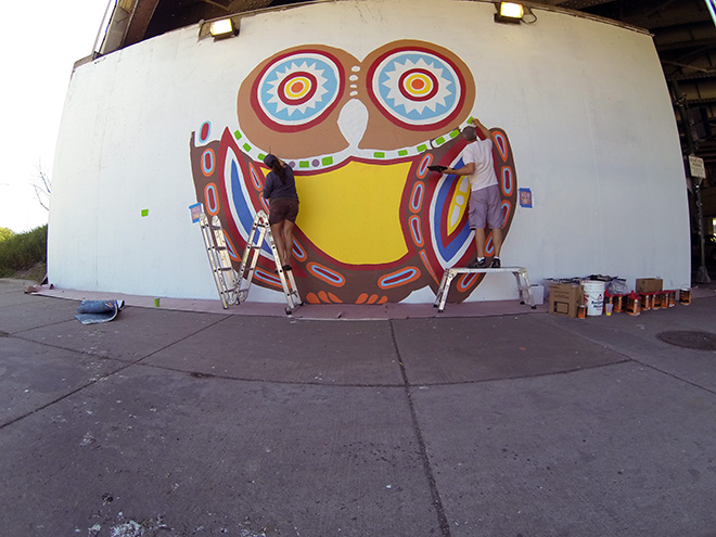 Tony Passero Whoot Owl Mural on Belmont and Kedzie in Chicago, IL Day 5 Shannon and Tony Painting