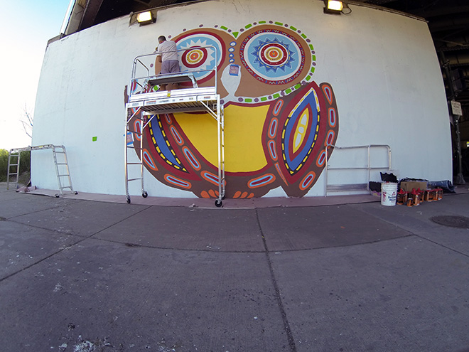 Tony Passero Whoot Owl Mural on Belmont and Kedzie in Chicago, IL Day 5 Tony Working on the Owls Eyes