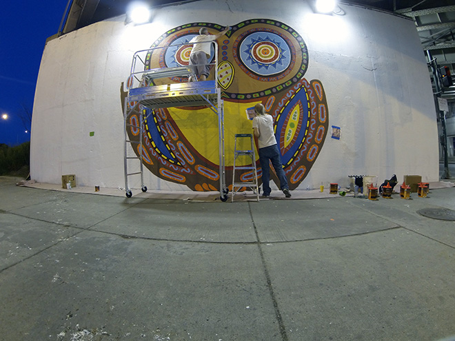 Tony Passero Whoot Owl Mural on Belmont and Kedzie in Chicago, IL Day 5 Late Night Painting