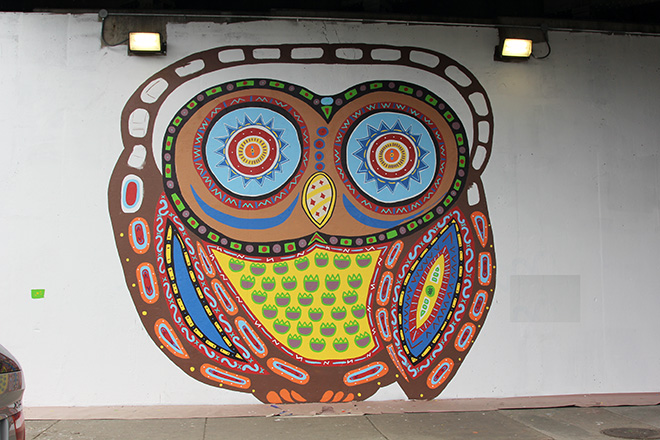 Tony Passero Whoot Owl Mural on Belmont and Kedzie in Chicago, IL Day 6 End of day shot