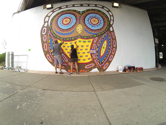 Tony Passero Whoot Owl Mural on Belmont and Kedzie in Chicago, IL Day 6 Tony and Shannon working side by side