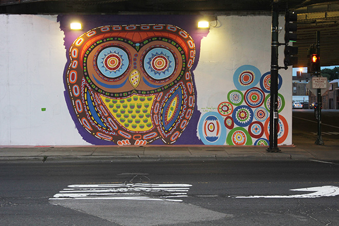 Tony Passero Whoot Owl Mural on Belmont and Kedzie in Chicago, IL Day 7 End of day street view
