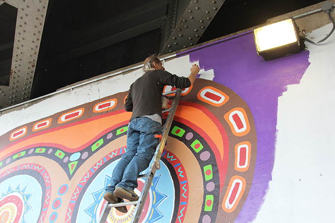 Tony Passero Whoot Owl Mural on Belmont and Kedzie in Chicago, IL Day 7 Jerry Painting