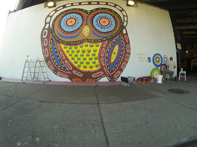 Tony Passero Whoot Owl Mural on Belmont and Kedzie in Chicago, IL Day 7 Painting in the Right Side of mural
