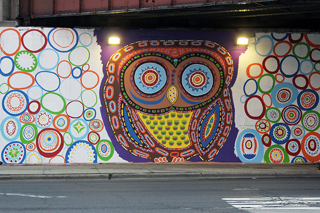 Tony Passero Whoot Owl Mural on Belmont and Kedzie in Chicago, IL Day 8 End of Day view from Across Belmont