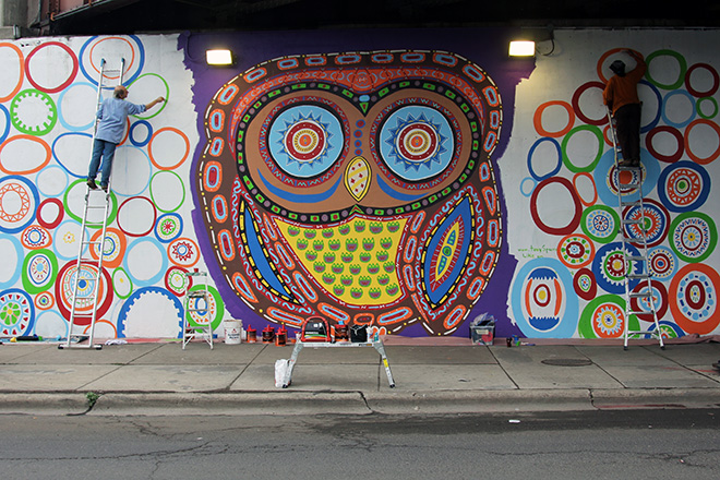 Tony Passero Whoot Owl Mural on Belmont and Kedzie in Chicago, IL Day 8 Jerry and Cyd