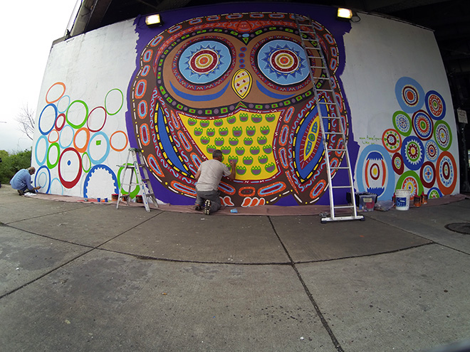 Tony Passero Whoot Owl Mural on Belmont and Kedzie in Chicago, IL Day 8 Tony Painting