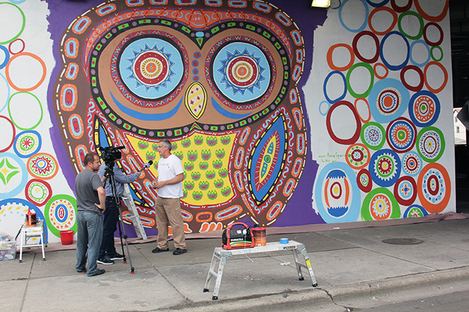 Tony Passero Whoot Owl Mural on Belmont and Kedzie in Chicago, IL Day 9 Artist Tony Passero TV Interview