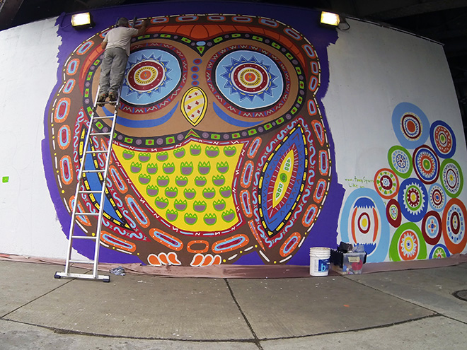 Tony Passero Whoot Owl Mural on Belmont and Kedzie in Chicago, IL Day 8 Tony Detailing