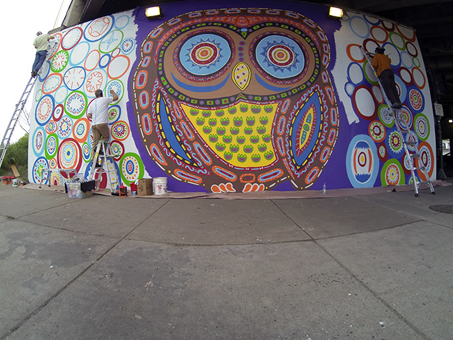 Tony Passero Whoot Owl Mural on Belmont and Kedzie in Chicago, IL Day 9 The Three Artketeers