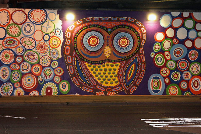 Tony Passero Whoot Owl Mural on Belmont and Kedzie in Chicago, IL Day 9 End of day view from Belmont Avenue