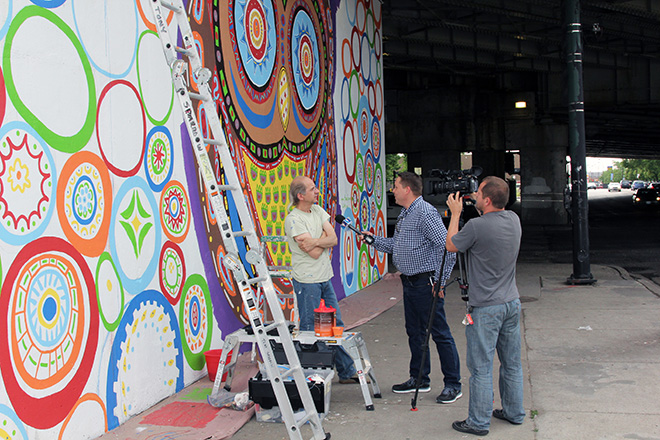 Tony Passero Whoot Owl Mural on Belmont and Kedzie in Chicago, IL Day 9 Polvision Interview with Jerry