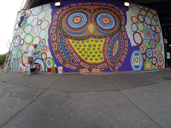 Tony Passero Whoot Owl Mural on Belmont and Kedzie in Chicago, IL Day 9 Circles and patterns, circles and patterns