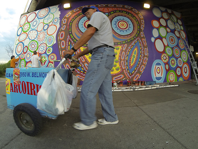 Tony Passero Whoot Owl Mural on Belmont and Kedzie in Chicago, IL Day 9 Ice Pop Man