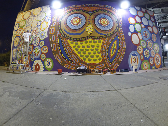 Tony Passero Whoot Owl Mural on Belmont and Kedzie in Chicago, IL Day 9 Artist Tony Passero Late Night Painting