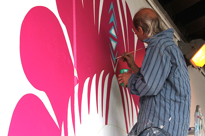 Tony Passero CrossCuts Mural on Addison Avenue Chicago Day 2 Jerry Rogowski