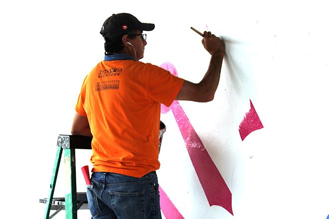 Tony Passero CrossCuts Mural on Addison Avenue Chicago Day 2 Juan Carlos Frias