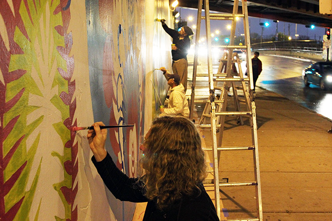 Tony Passero CrossCuts Mural on Addison Avenue Chicago Day 2 Great Three Shot by Daniel