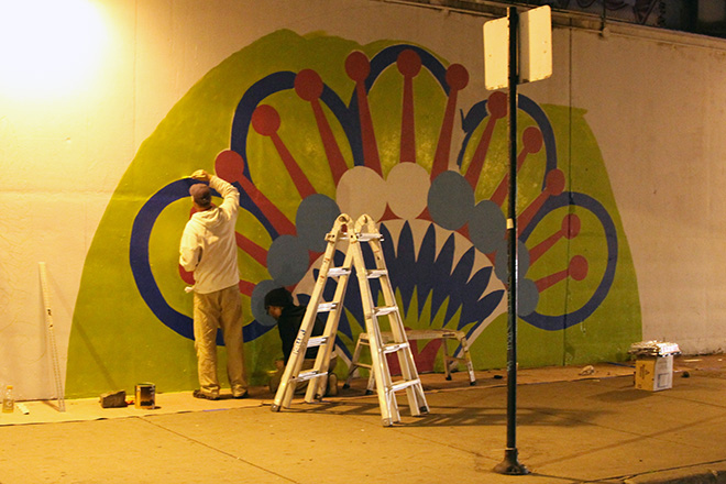 Tony Passero CrossCuts Mural on Addison Avenue Chicago Day 2 Artist Tony Passero Late Night Painting