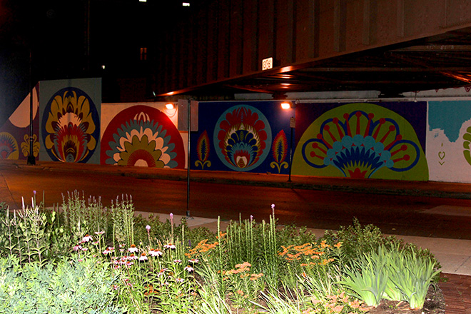Tony Passero CrossCuts Mural on Addison Avenue Chicago Day 3 End of Day View from Garden