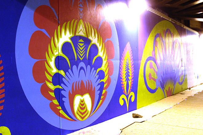 Tony Passero CrossCuts Mural on Addison Avenue Chicago Day 3 End of Day Sidewalk View