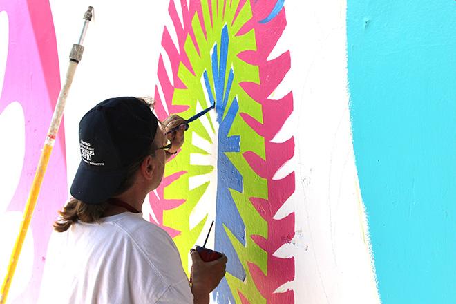 Tony Passero CrossCuts Mural on Addison Avenue Chicago Day 3 Grace Bazylewski