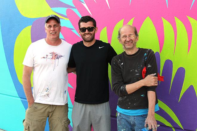 Tony Passero CrossCuts Mural on Addison Avenue Chicago Day 3 Artist Tony Passero with Chicago Fire Legend Gonzalo Segares and Jerry Rogowski