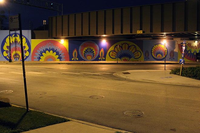 Tony Passero CrossCuts Mural on Addison Avenue Chicago  Day 4 End of Day View from Across Addison