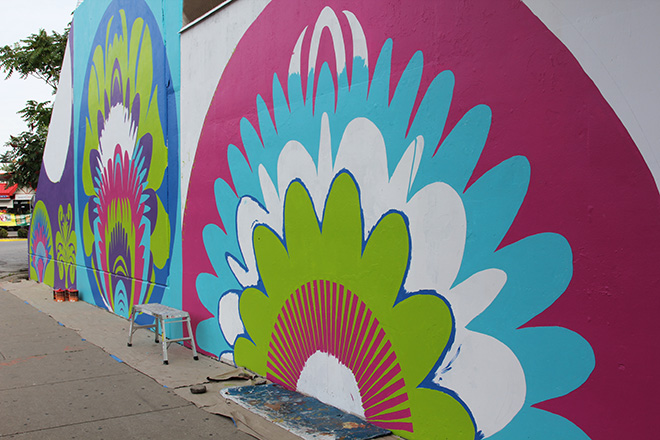 Tony Passero CrossCuts Mural on Addison Avenue Chicago  Day 4 Morning View Left