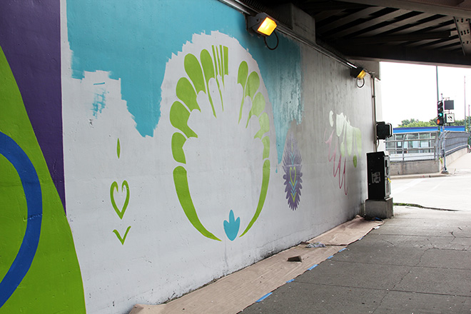Tony Passero CrossCuts Mural on Addison Avenue Chicago  Day 4 Morning View Right