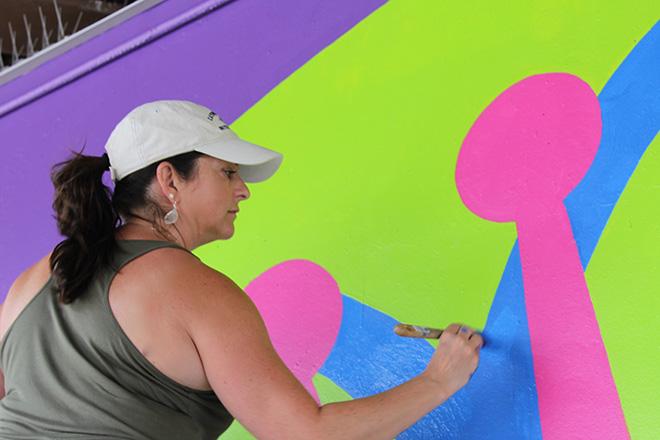 Tony Passero CrossCuts Mural on Addison Avenue Chicago  Day 4 Shannon Kemp Passero