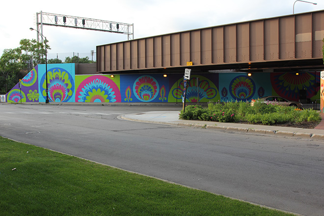 Tony Passero CrossCuts Mural on Addison Avenue Chicago  Day 5 View from Across Avondale