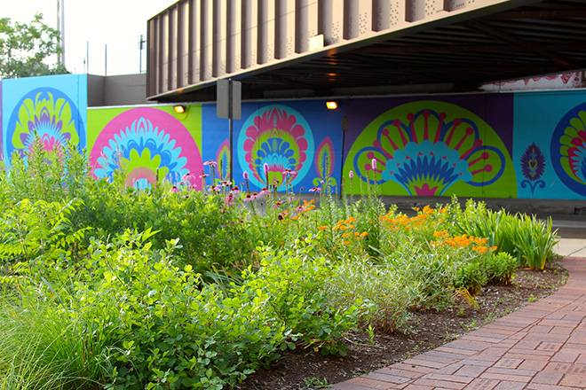 Tony Passero CrossCuts Mural on Addison Avenue Chicago  Day 5 Depth of Focus Garden View Shot