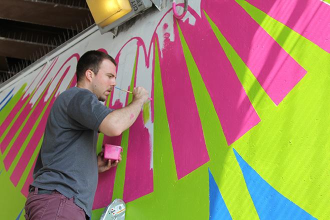 Tony Passero CrossCuts Mural on Addison Avenue Chicago  Day 5 Shawn Cassera
