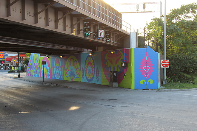 Tony Passero CrossCuts Mural on Addison Avenue Chicago Day 6 View from up Addison