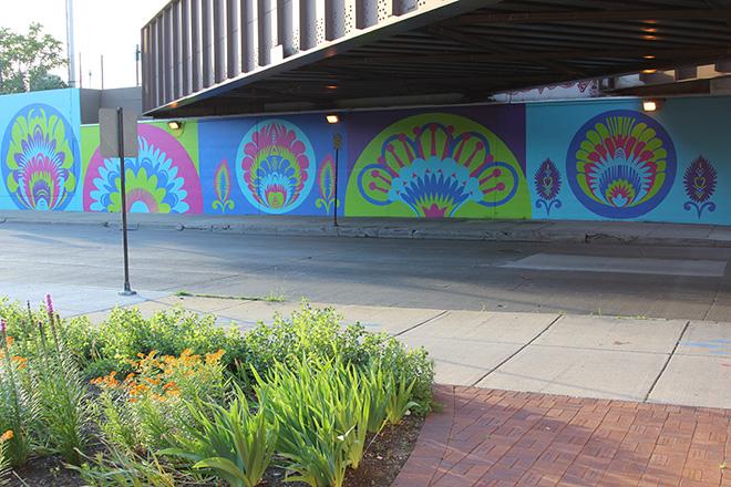 Tony Passero CrossCuts Mural on Addison Avenue Chicago Day 6 View from Brick Path