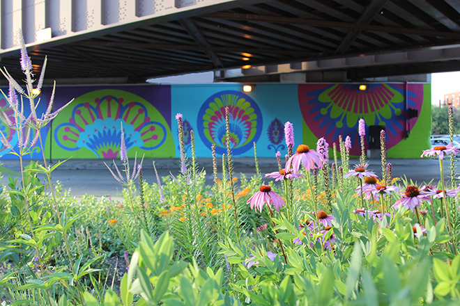 Tony Passero CrossCuts Mural on Addison Avenue Chicago Day 6 View from Garden