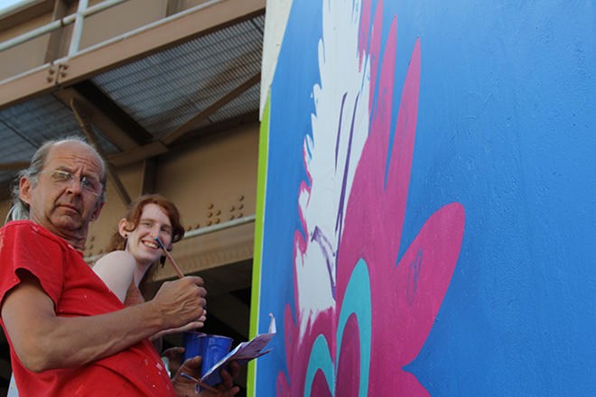 Tony Passero CrossCuts Mural on Addison Avenue Chicago Day 6 Siobhan Kealey and Jerry Rogowski