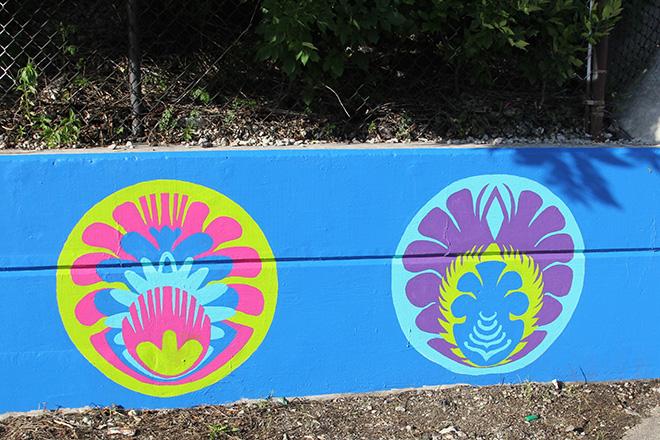 Tony Passero CrossCuts Mural on Addison Avenue Chicago Day 6 Panel 1 Detail
