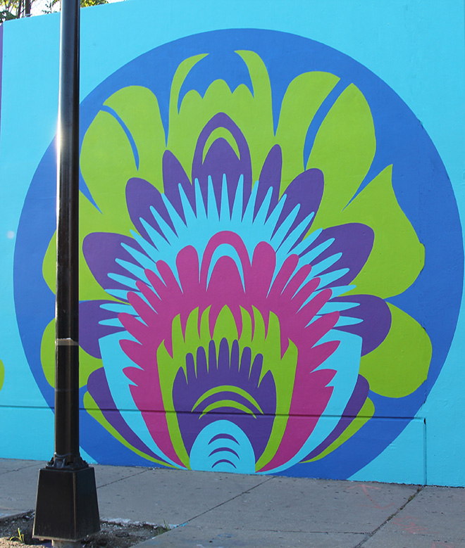 Tony Passero CrossCuts Mural on Addison Avenue Chicago Day 6 Panel 3 Detail
