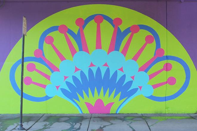 Tony Passero CrossCuts Mural on Addison Avenue Chicago Day 6 Panel 6 Detail