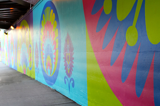 Tony Passero CrossCuts Mural on Addison Avenue Chicago Day 6 Sidewalk View