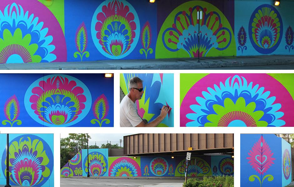 Tony Passero CrossCuts Mural Addison Avenue Chicago Detail
