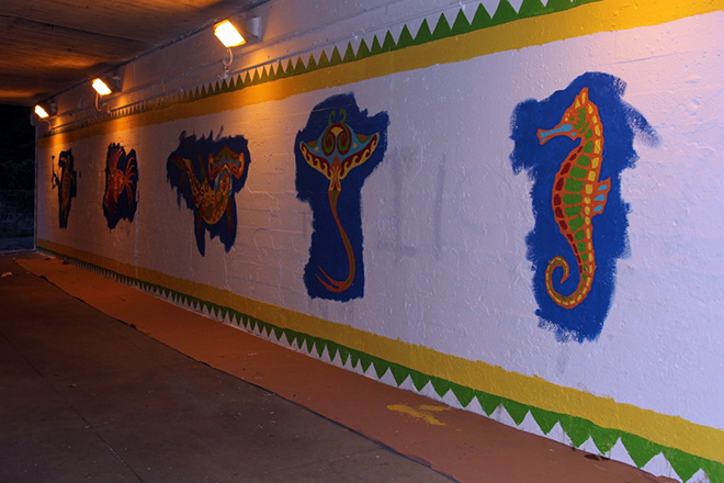 Tony Passero Coloribbean Mural in Rogers Park Chicago Day 3 east view end of day