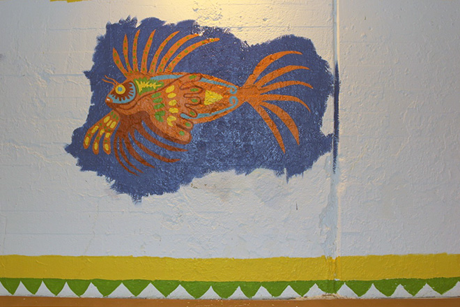 Tony Passero Coloribbean Mural in Rogers Park Chicago Lionfish end of day