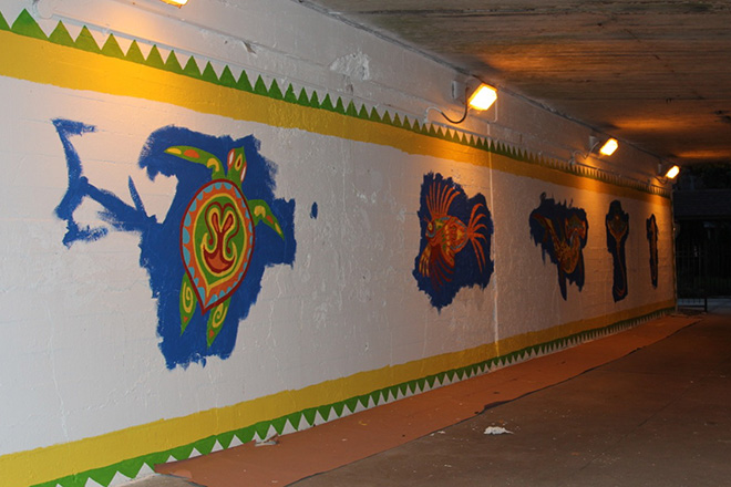 Tony Passero Coloribbean Mural in Rogers Park Chicago Day 3 west view end of day