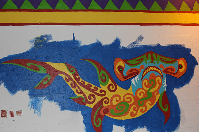 Tony Passero Coloribbean Mural in Rogers Park Chicago Day 4 Hammerhead and Border End of Day